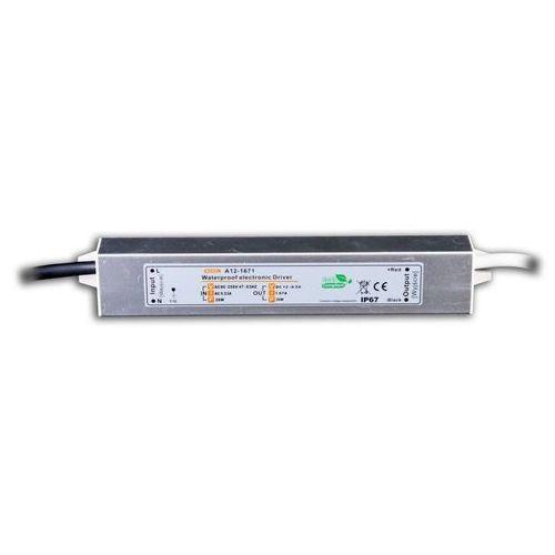 A12-1671 Zasilacz impulsowy 12V/1670mA hermetycznym, metalowy IP67 do obudowy zewn.
