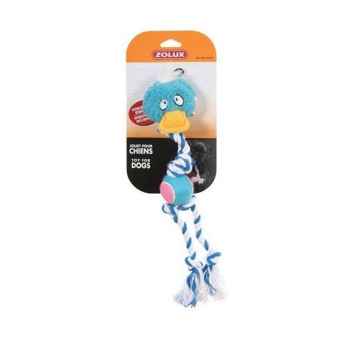ZOLUX Zabawka pluszowa dla psa piłka + sznur 44cm kolor niebieski, z dźwiękiem
