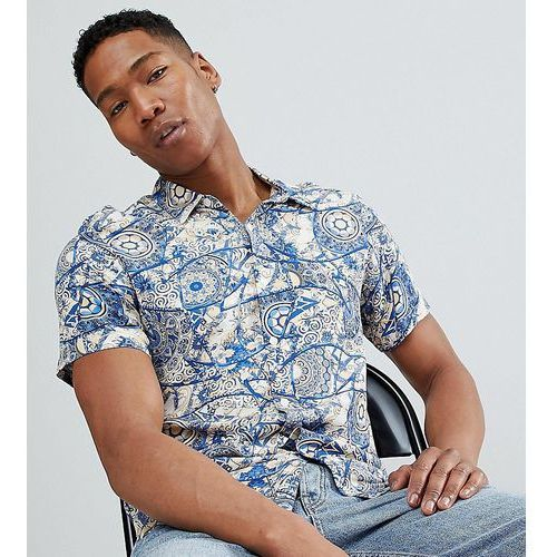 inspired short sleeve retro mosaic print shirt - blue marki Reclaimed vintage