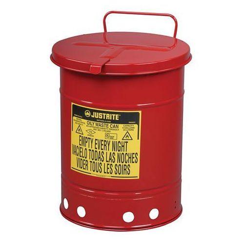 Bezpieczny pojemnik na odpady z blachy stalowej, okrągłe, z obsługą ręczną, poj.