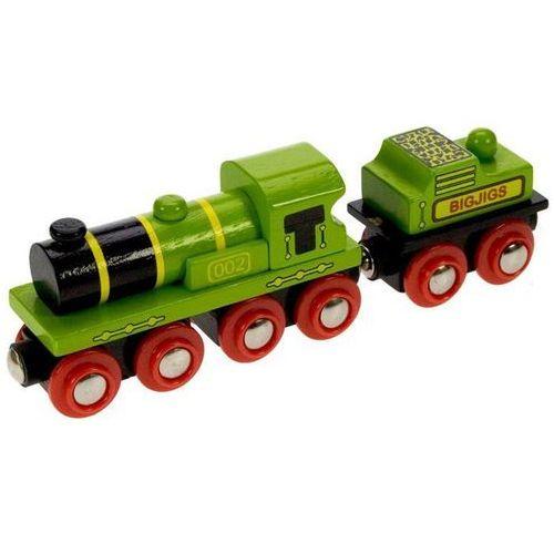 Bigjigs toys Duża zielona lokomotywa do zabawy, wyposażenie kolejek drewnianych bigjigs