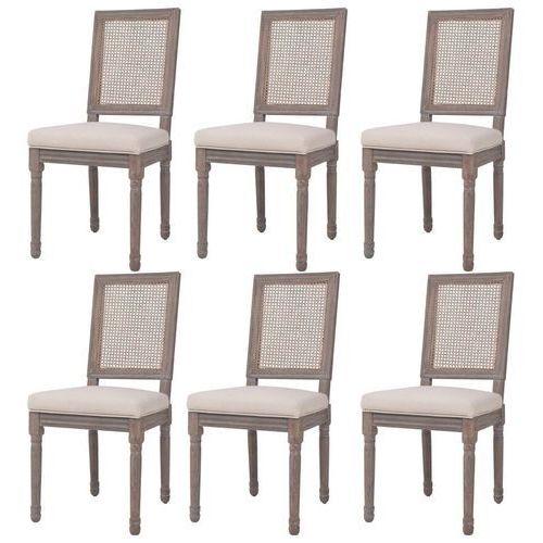 Krzesła do jadalni tapicerowane lnem, 6 szt., rattan, kremowe, kolor beżowy