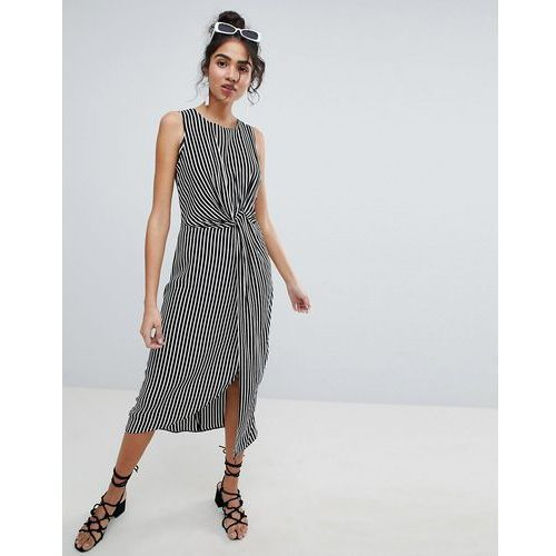 New look twist front midi dress - black