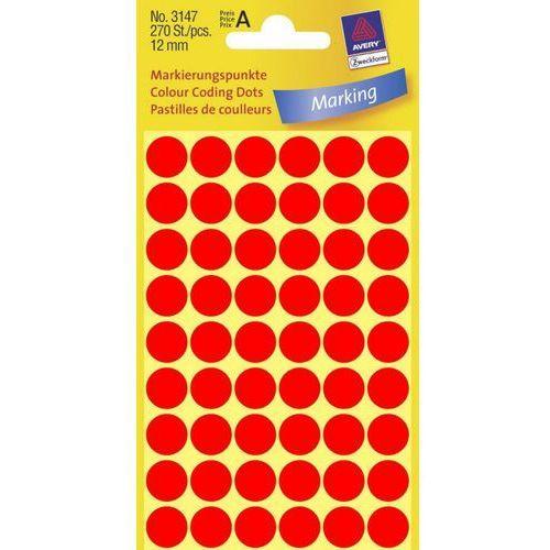 Kółka samoprzylepne Avery Zweckform 3147 12mm/270szt. czerwone