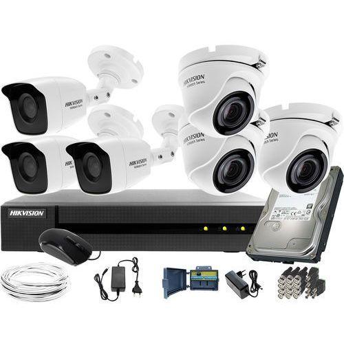 Zestaw 6 kamer do monitoringu placu domu podwórka 3x hwt-b120-m 3x hwt-t120-m hwd-6108mh-g2 dysk twardy 1tb akcesoria marki Hikvision hiwatch
