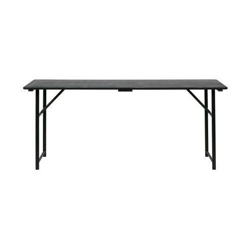 Duży stół z drewnianym blatem i z żelaznymi nogami czarny Woood, 375769-Z