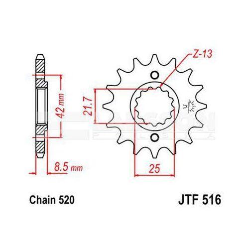 Zębatka przednia jt f516-14, 14z, rozmiar 520 2200405 kawasaki kl 650, suzuki gs 500 marki Jt sprockets