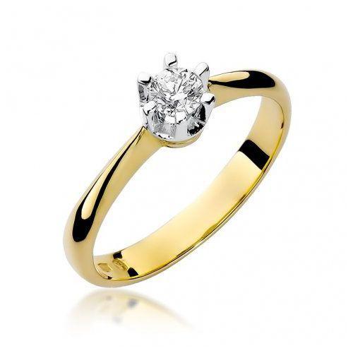Biżuteria 14k pierścionek z brylantem 0,23ct w-36 złoty marki Saxo
