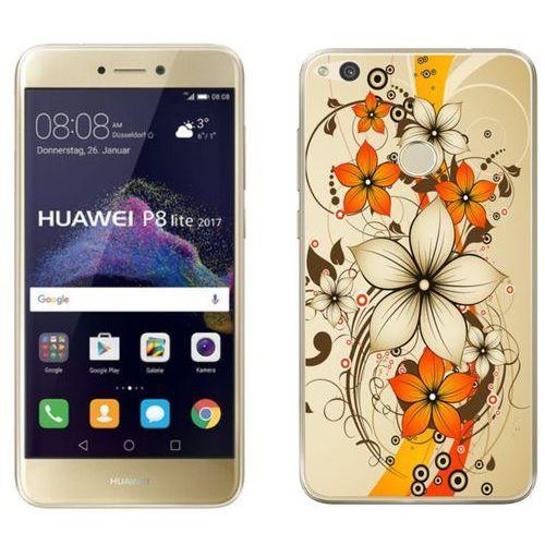 Huawei p8 lite 2017 - etui na telefon - kolekcja boho - pomarańczowe kwiaty - j108 marki Zolti