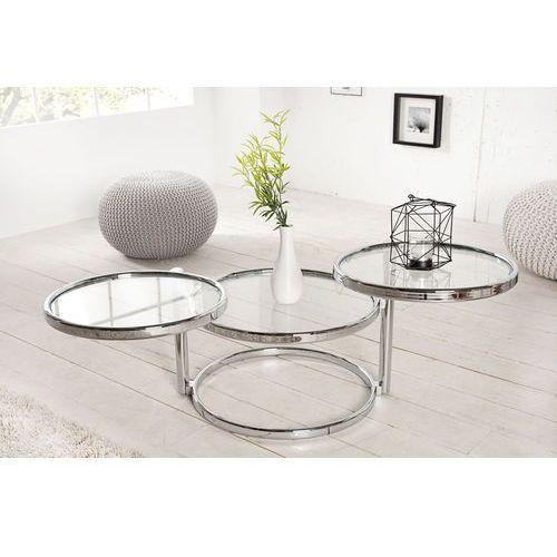 Interior Stolik modern glass (3-poziomowy) - srebrny