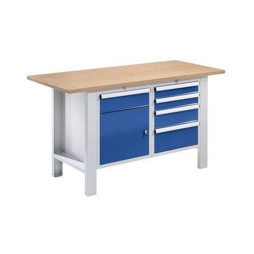 Stół warsztatowy,szer. blatu 1500 mm, 5 szuflad, 1 drzwi marki Quipo