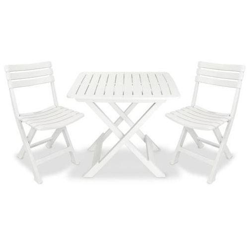 vidaXL 3-cz. składany zestaw mebli bistro, plastik, biały