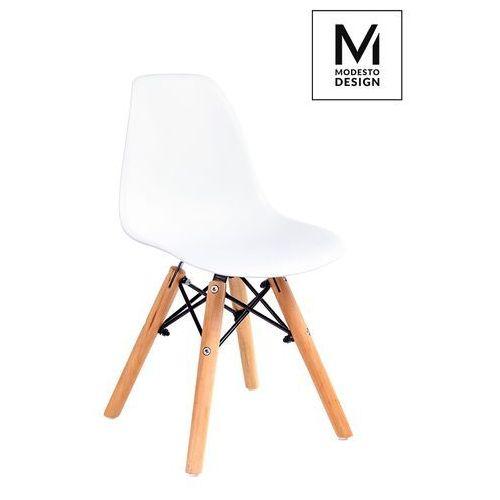 Modesto design Modesto krzesło junior dsw białe - polipropylen, podstawa bukowa (5900168801646)