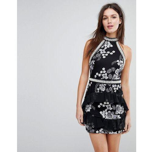 PrettyLittleThing Premium Embellished Halterneck Dress - Black