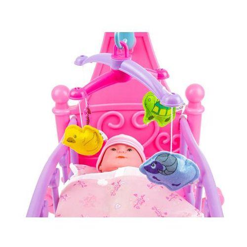 Łóżeczko kołyska dla lalek z karuzelą ze zwierzątkami + akcesoria 25800da marki Kindersafe
