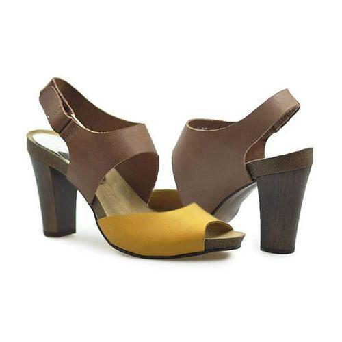 Sandały Karino 0775/044 Brązowe/Żółte lico, kolor brązowy