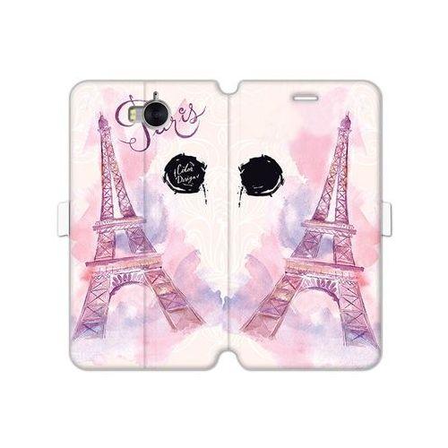 Huawei Y5 (2017) - etui na telefon Wallet Book Fantastic - różowa wieża eiffla, ETHW523WBFCFB104000