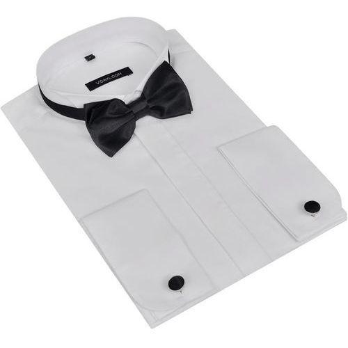 Męska koszula smokingowa ze spinkami do mankietów i muszka xl biała marki Vidaxl