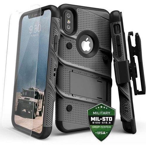 bolt cover etui pancerne iphone x (gun metal gray) + szkło hartowane na ekran marki Zizo