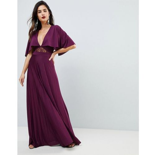 cape pleated lace insert maxi dress - red marki Asos