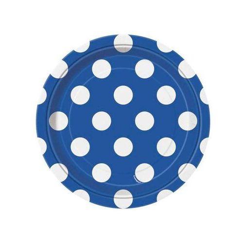 Unique Talerzyki urodzinowe niebieskie w białe kropki - 18 cm - 8 szt.