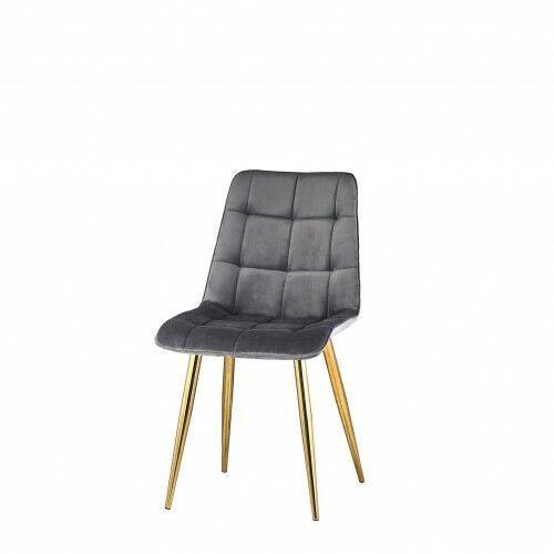 Big meble Krzesło tapicerowane welur ciemno szare nogi złote big coral dostawa 0zł
