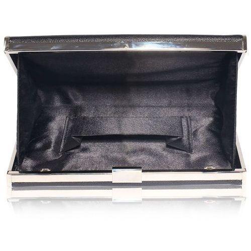 OKAZJA - Szykowna gładka torebka wizytowa kopertówka czarna - czarny, kolor czarny