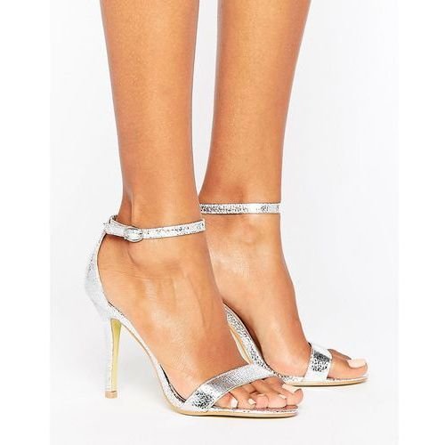 Glamorous silver patent two part heeled sandals - silver