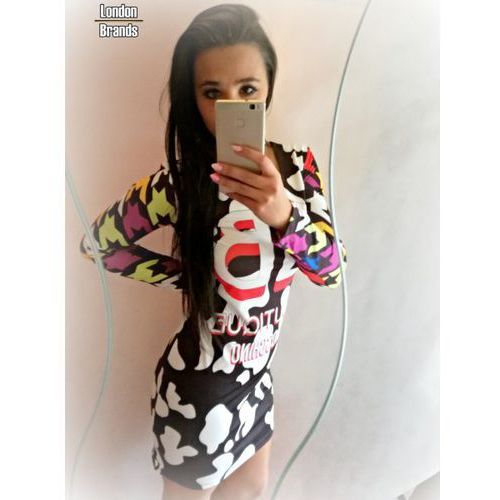 Sukienka Moschino kolorowa, kolor wielokolorowy
