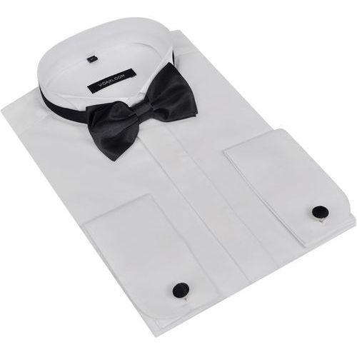 Męska koszula smokingowa ze spinkami do mankietów i muszka S biała