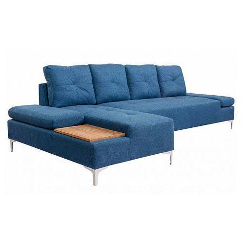 vidaXL Sofa w kształcie L, niebieska, taca drewniana, XXL, 300 cm, kolor niebieski