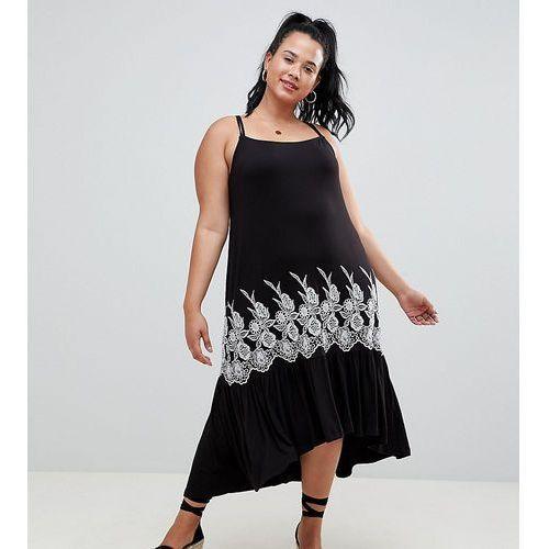 ASOS DESIGN Curve embroidered drop hem midi sundress - Black, kolor czarny