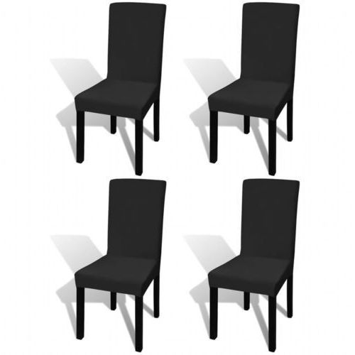 130342 Elastyczne pokrowce na krzesło czarne 4 szt., kolor czarny
