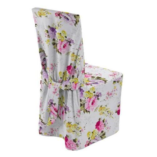 Dekoria Sukienka na krzesło, fioletowo-różowe kwiaty na białym tle, 45 × 94 cm, Monet