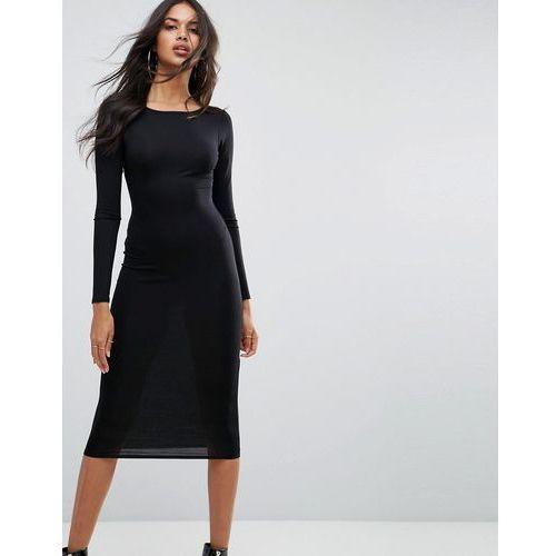 Boohoo basic long sleeve midi dress in black - black