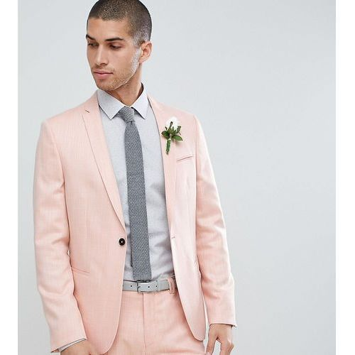 skinny wedding suit jacket in crosshatch - pink marki Noak