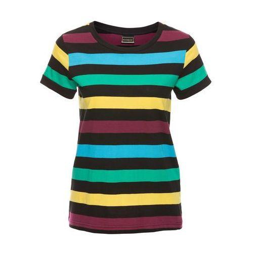 T-shirt w paski bonprix czarno - błękit laguny, bawełna