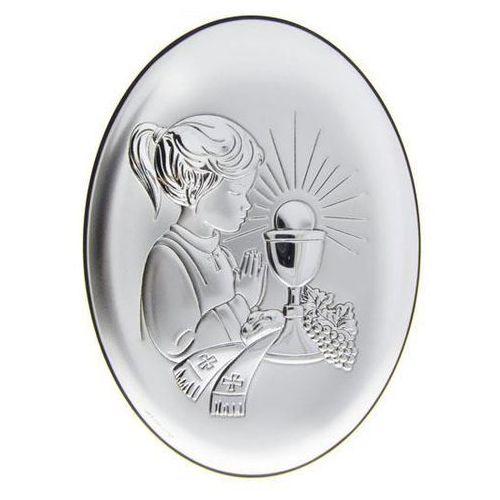 Obrazek srebrny pamiątka i komunii świętej dla dziewczynki - 1a - 7 x 9 cm marki Valenti