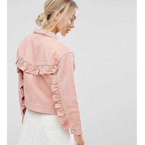 denim jacket with ruffle back in washed pink - blue marki Asos petite