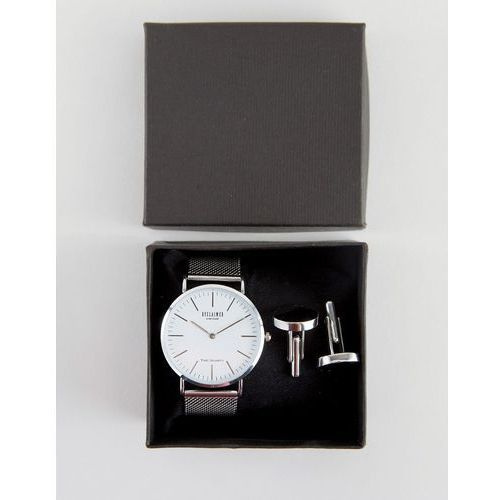 classic mesh watch & cufflinks gift set in silver - silver od producenta Reclaimed vintage