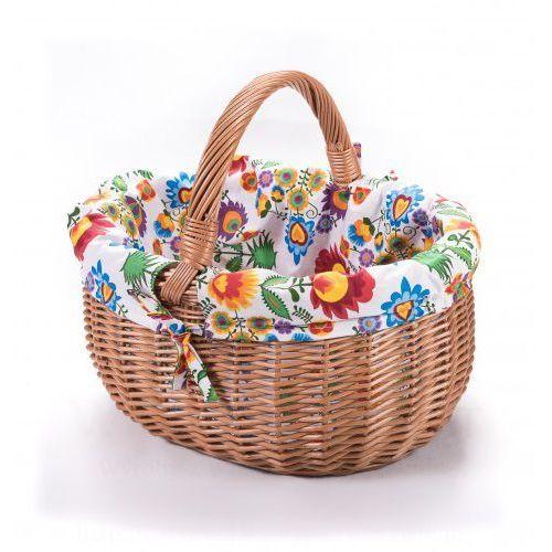 Wiklinowy koszyk zakupowy PT z wkładem obszyciem materiałowym trzy krańce, 1228-k00