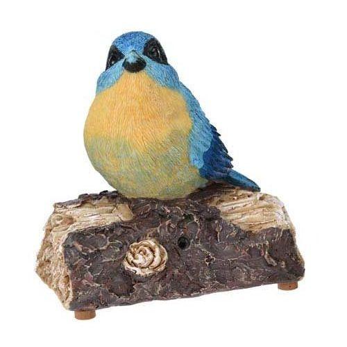 Ozdobny ptak figurka siedzący na gałęzi, ogrodowa figurka dekoracyjna z melodyjkami