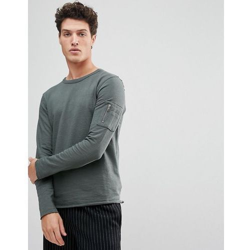 Selected homme sweatshirt with raglan sleeve and straight hem - grey