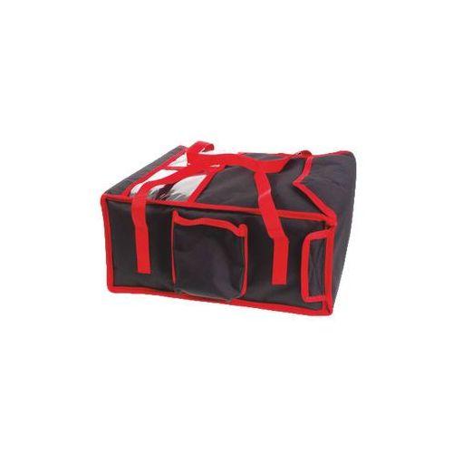 Torba wykonana z kodury na 4 kartony do pizzy o wymiarach 350x350 mm, czarna z czerwoną lamówką   , t4s marki Furmis