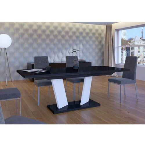Stół rozkładany 160-240 Sommelier Long czarno-biały wysoki połysk, MD-0070