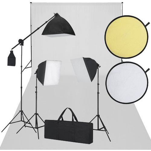 zestaw studio, białe tło, 3 lampy i reflektor marki Vidaxl