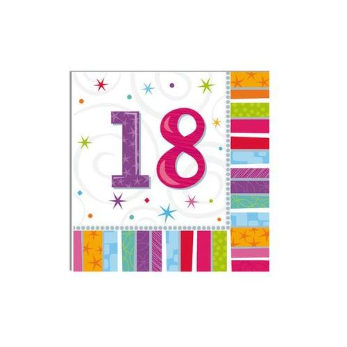 Serwetki urodzinowe na osiemnaste urodziny - 18tka - 33 x 33 cm - 16 szt. marki Amscan