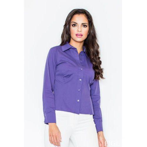 Ciemnofioletowa Klasyczna Koszula z Długim Rękawem, kolor fioletowy