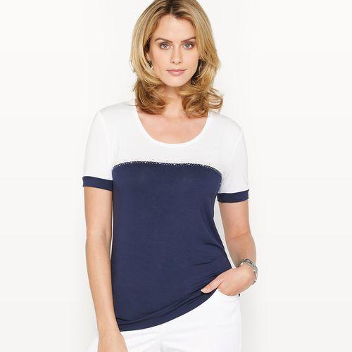 T-shirt dwukolorowy, elastyczna dzianina marki Anne weyburn