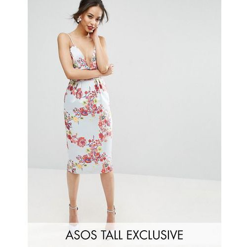 salon midi pencil dress with embroidery and ruched waist detail - multi marki Asos tall